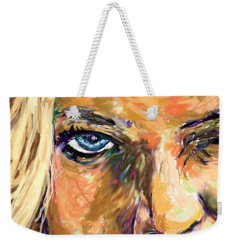 Jaime Pressly Weekender Tote Bag featuring the painting Jaime Pressly by Travis Day