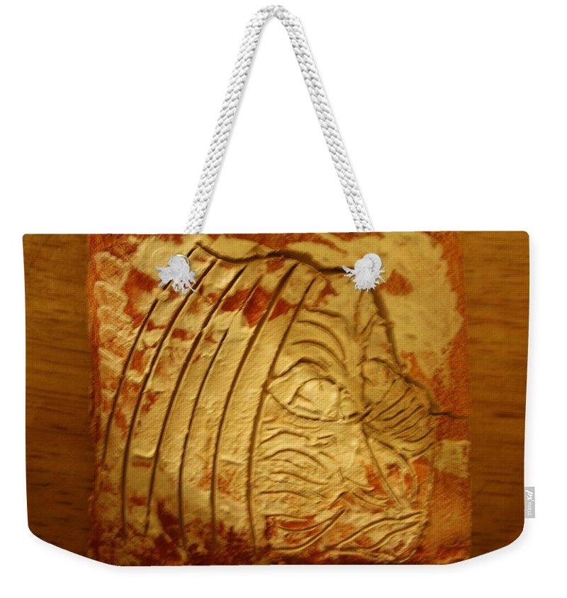 Jesus Weekender Tote Bag featuring the ceramic art Jajjas In - Tile by Gloria Ssali