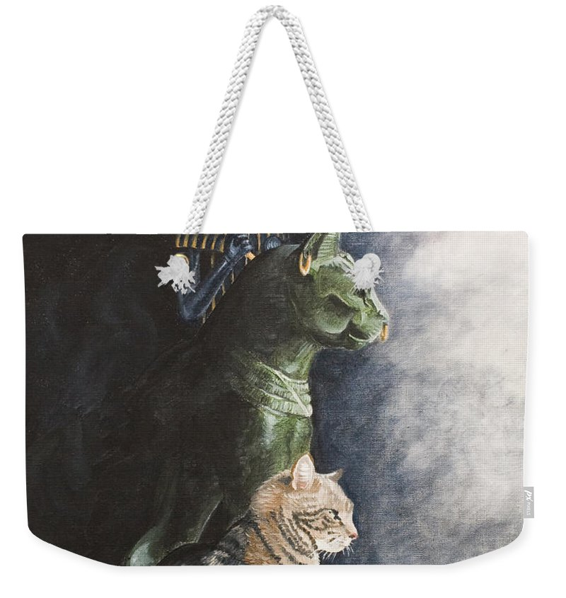 Cat Jake Bastet Egyptian Statues Gods Pet Portrait Weekender Tote Bag featuring the painting Jake And The Ancestors-pet Portrait by Pauline Sharp