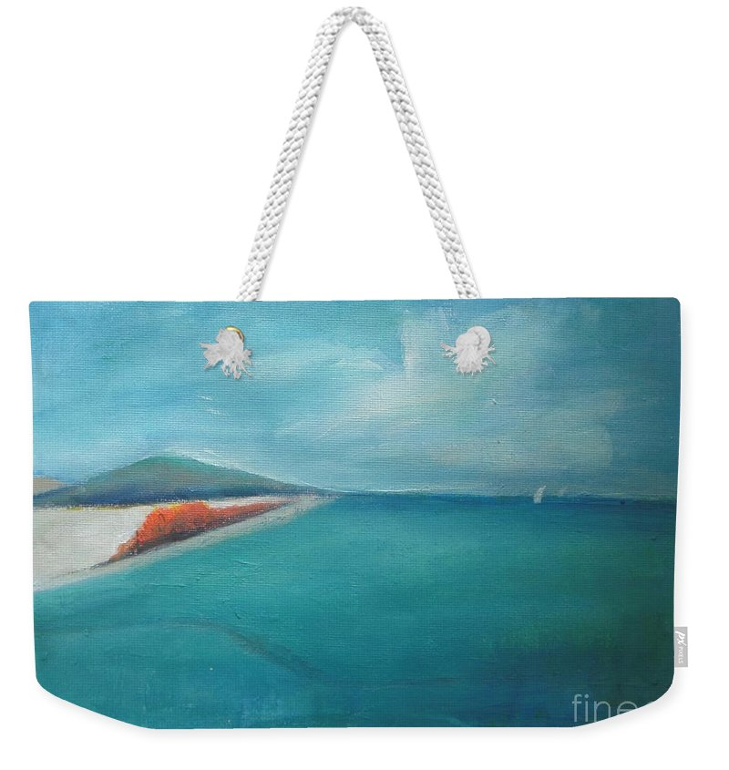 Seascape Weekender Tote Bag featuring the painting Jamaica - A Beautiful Day by Vesna Antic