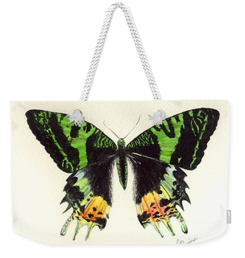 Butterfly Weekender Tote Bag featuring the painting Jamaican Jewel by Lynn Quinn
