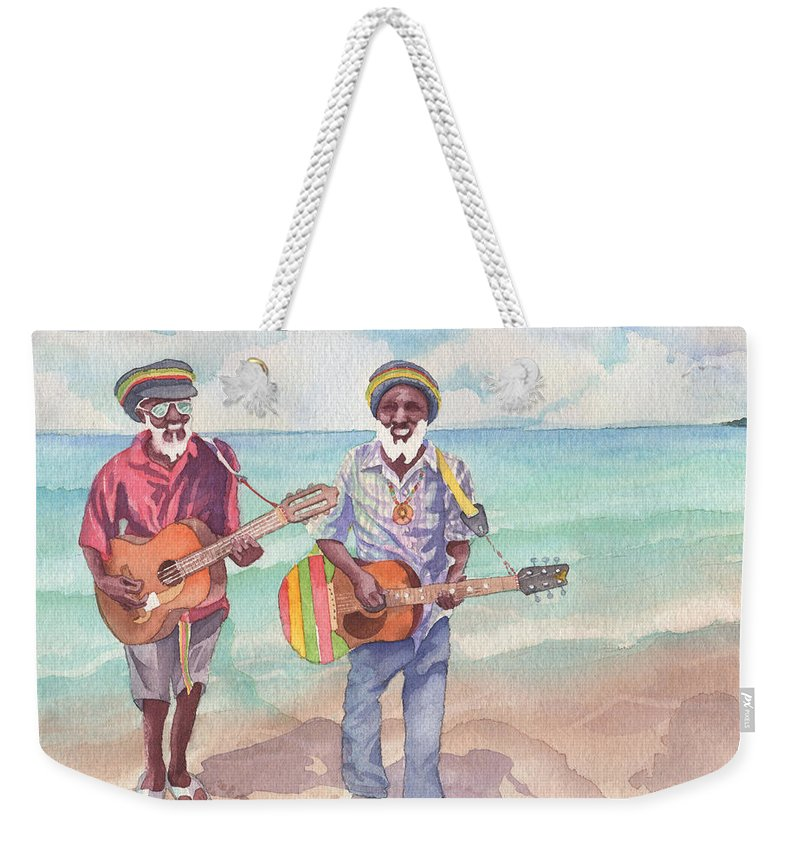 Jamaica Weekender Tote Bag featuring the painting Jamaican Musician Watercolor by Michele Angel
