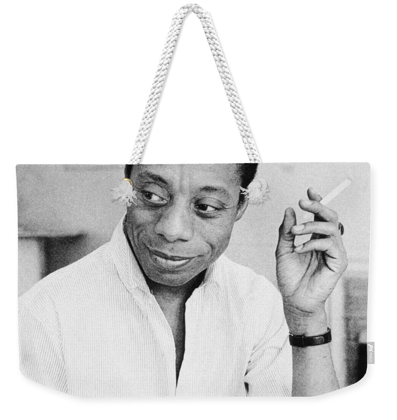 1950s Weekender Tote Bag featuring the photograph James Baldwin by Granger