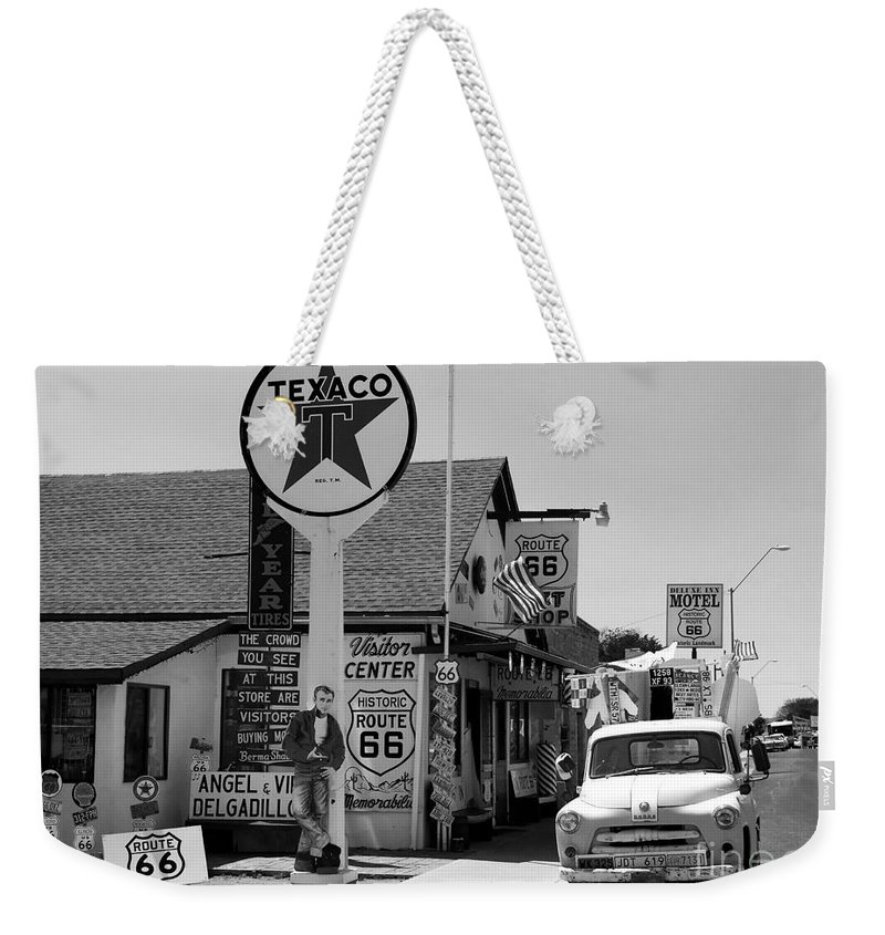 James Dean Weekender Tote Bag featuring the photograph James Dean On Route 66 by David Lee Thompson