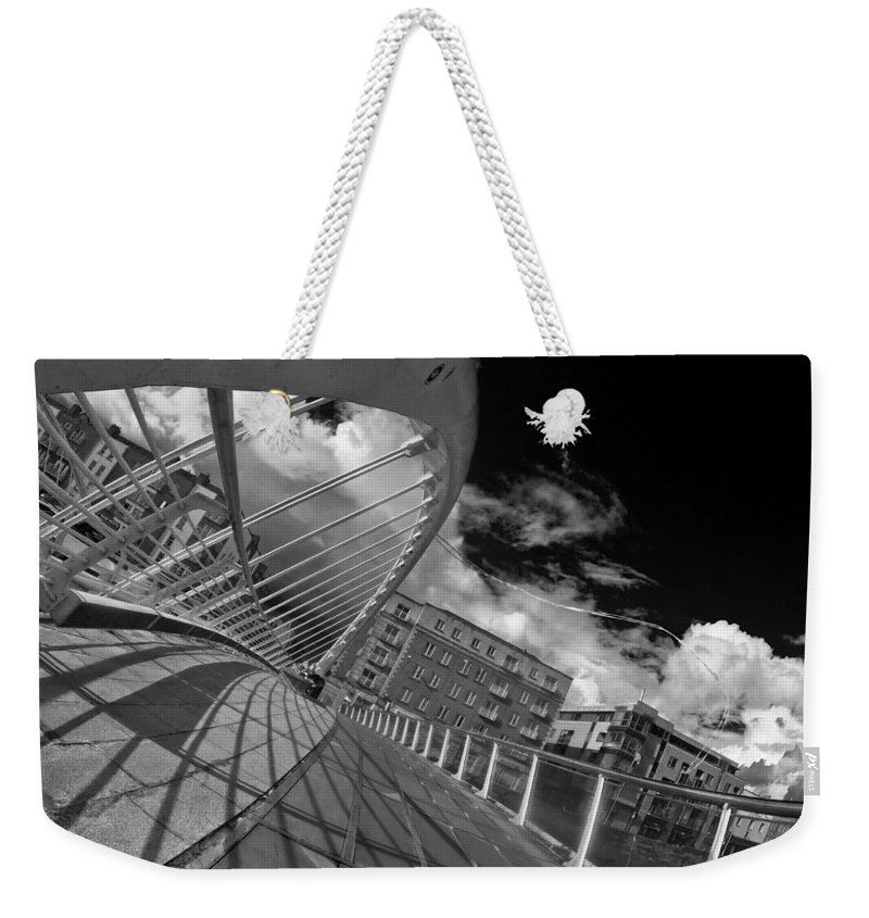 James Joyce Bridge Weekender Tote Bag featuring the photograph James Joyce Bridge 2 Bw by Alex Art and Photo