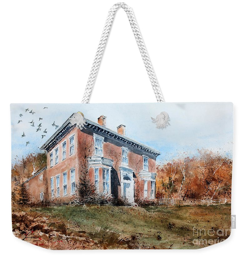 A Flock Of Pigeons Fly Above The Historical Home Of James Mcleaster Near Lawrenceburg Weekender Tote Bag featuring the painting James Mcleaster House by Monte Toon