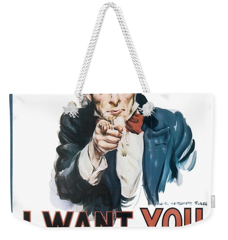 Uncle Sam Weekender Tote Bag featuring the digital art I Want You For U.s. Army by Define Studio