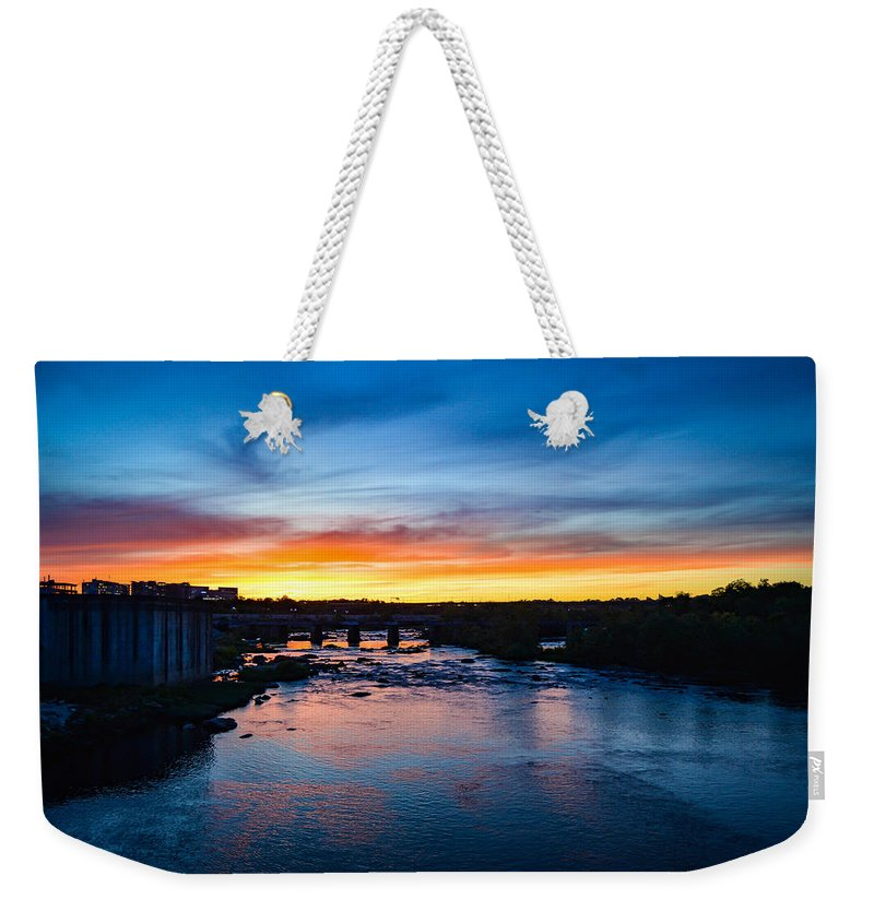 Richmond Weekender Tote Bag featuring the photograph James River Sunset by Aaron Dishner
