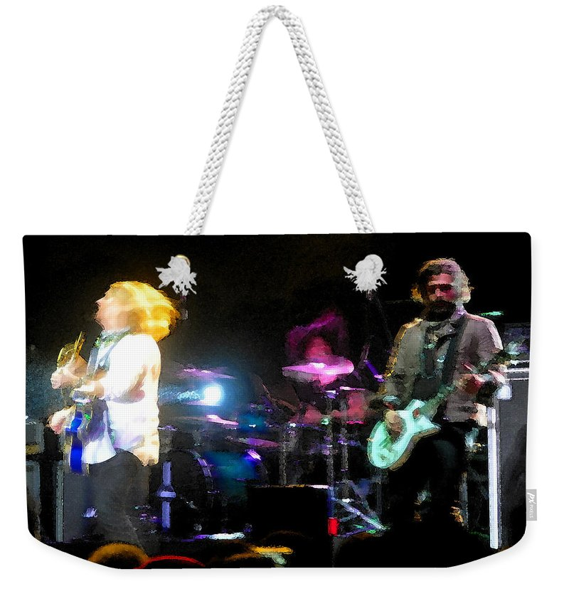 Rock And Roll Weekender Tote Bag featuring the painting Jammin by David Lee Thompson
