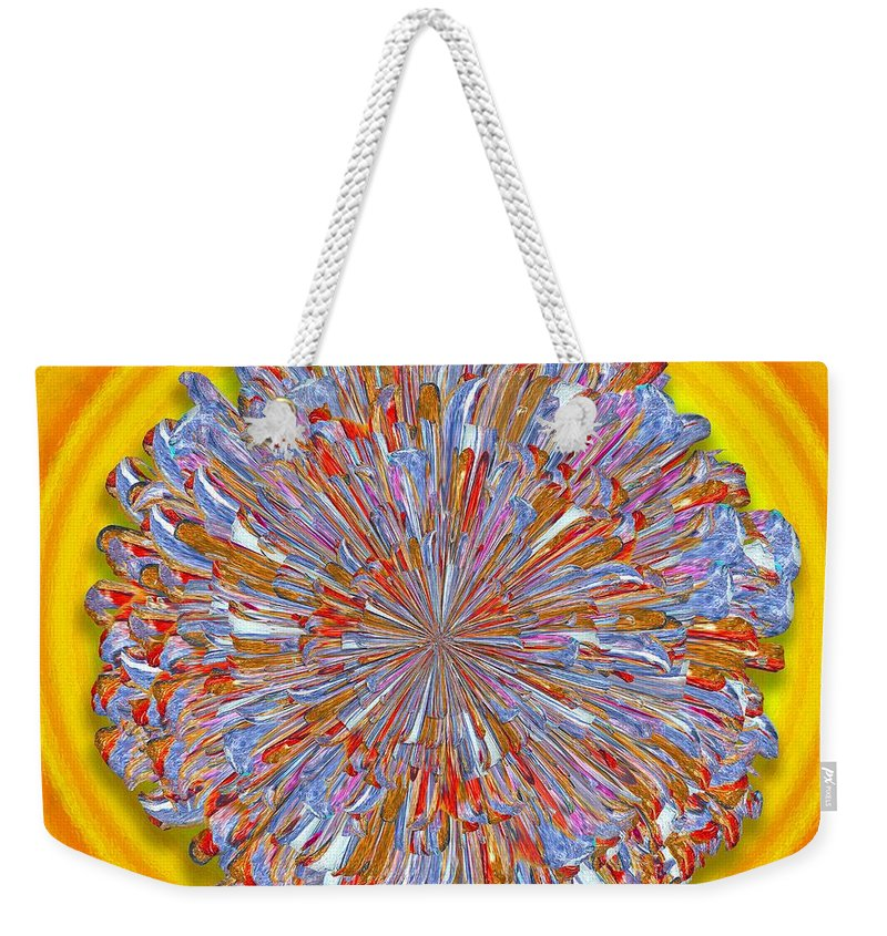 Digital Weekender Tote Bag featuring the digital art Janet -- Floral Disk by Mark Sellers