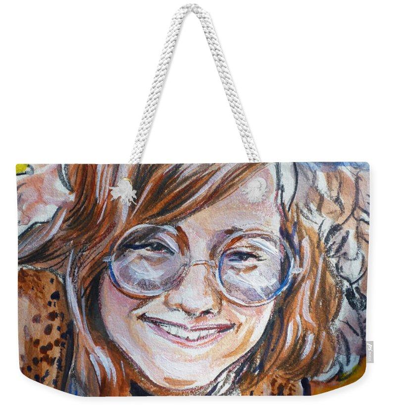 Janis Joplin Weekender Tote Bag featuring the painting Janis Joplin by Bryan Bustard