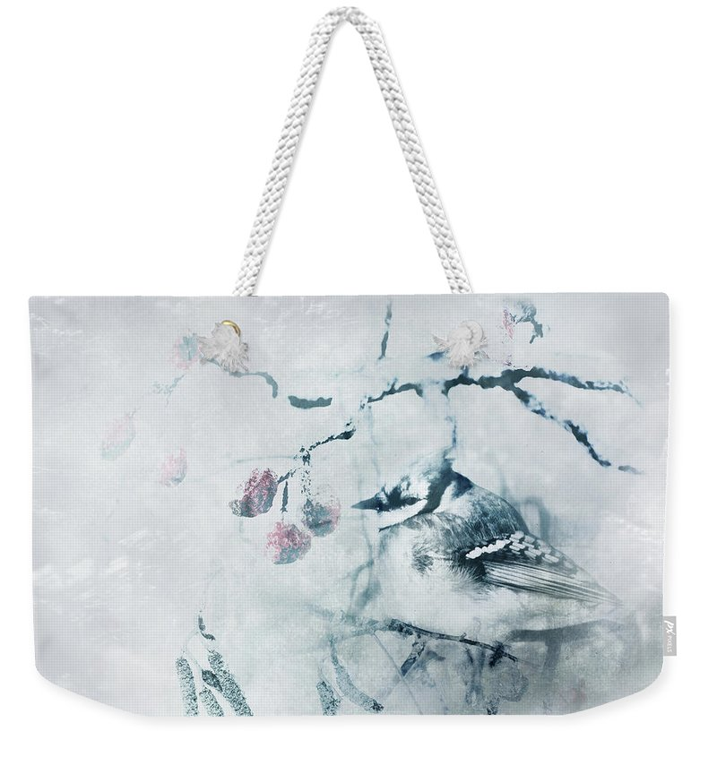 Bluejay Weekender Tote Bag featuring the photograph January Bluejay by Sue Capuano