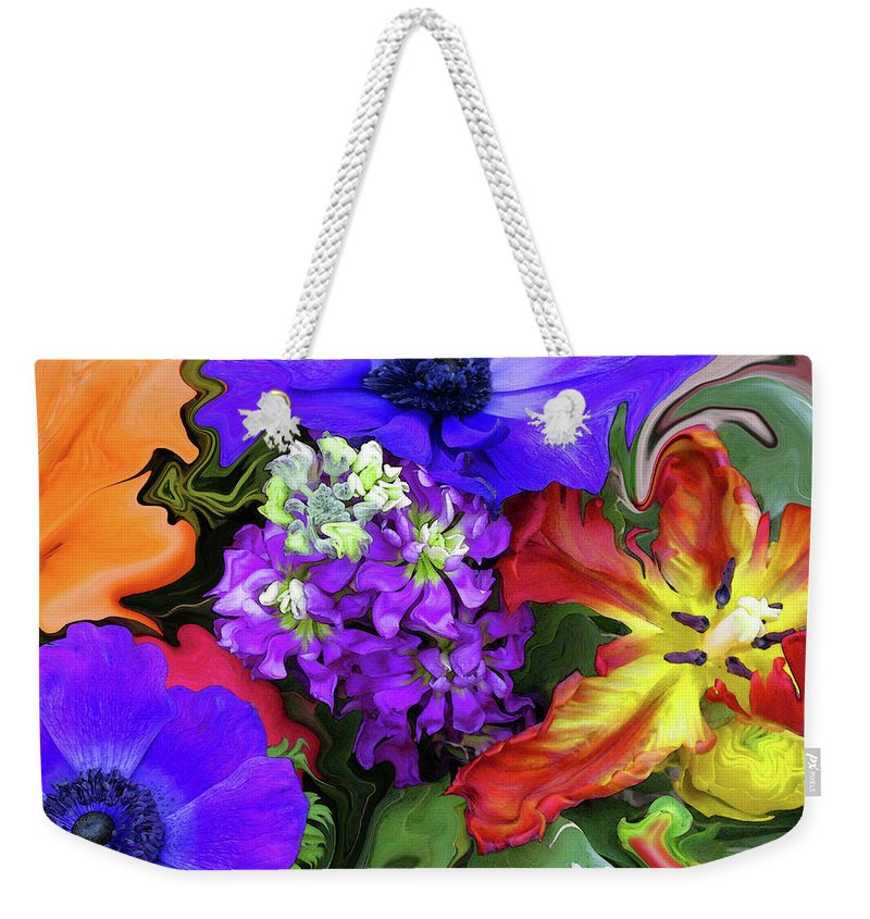 Abstract Weekender Tote Bag featuring the photograph January Bouquet by Kathy Moll