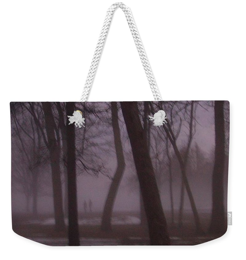 January Weekender Tote Bag featuring the photograph January Fog 1 by Anita Burgermeister