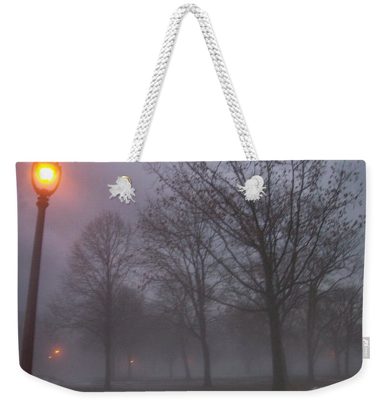 January Weekender Tote Bag featuring the photograph January Fog 3 by Anita Burgermeister