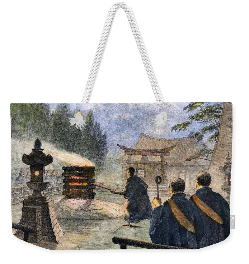 1890 Weekender Tote Bag featuring the photograph Japan: Cremation, 1890 by Granger