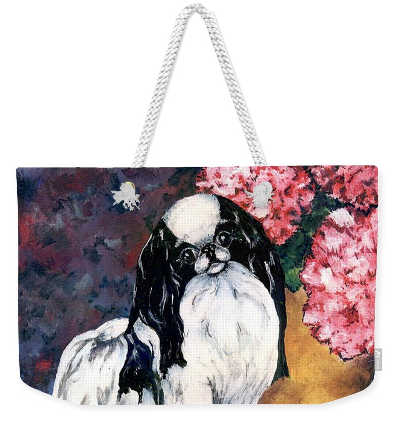 Japanese Chin Weekender Tote Bag featuring the painting Japanese Chin And Hydrangeas by Kathleen Sepulveda
