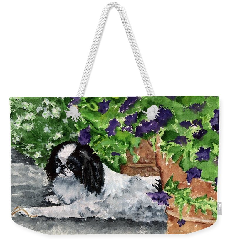 Japanese Chin Weekender Tote Bag featuring the painting Japanese Chin Puppy and Petunias by Kathleen Sepulveda