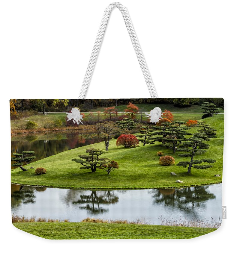 Japanese Garden Weekender Tote Bag featuring the photograph Japanese Garden Autumn by Lindley Johnson