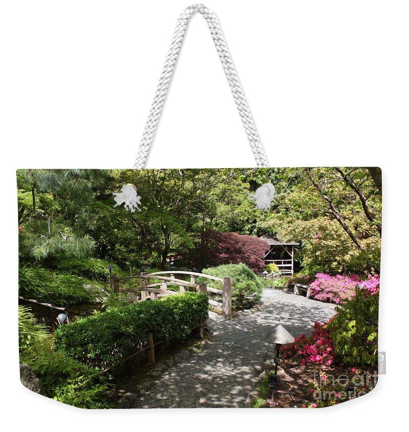 Japanese Garden Weekender Tote Bag featuring the photograph Japanese Garden Path With Azaleas by Carol Groenen