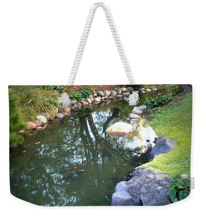 Japanese Garden Weekender Tote Bag featuring the photograph Japanese Garden Reflection by Carol Groenen