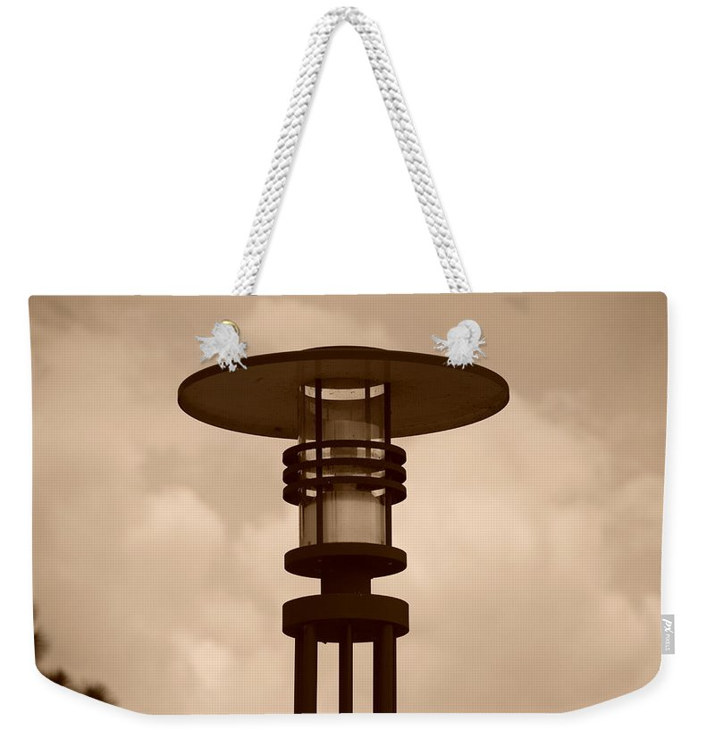 Sepia Weekender Tote Bag featuring the photograph Japanese Lamp by Rob Hans