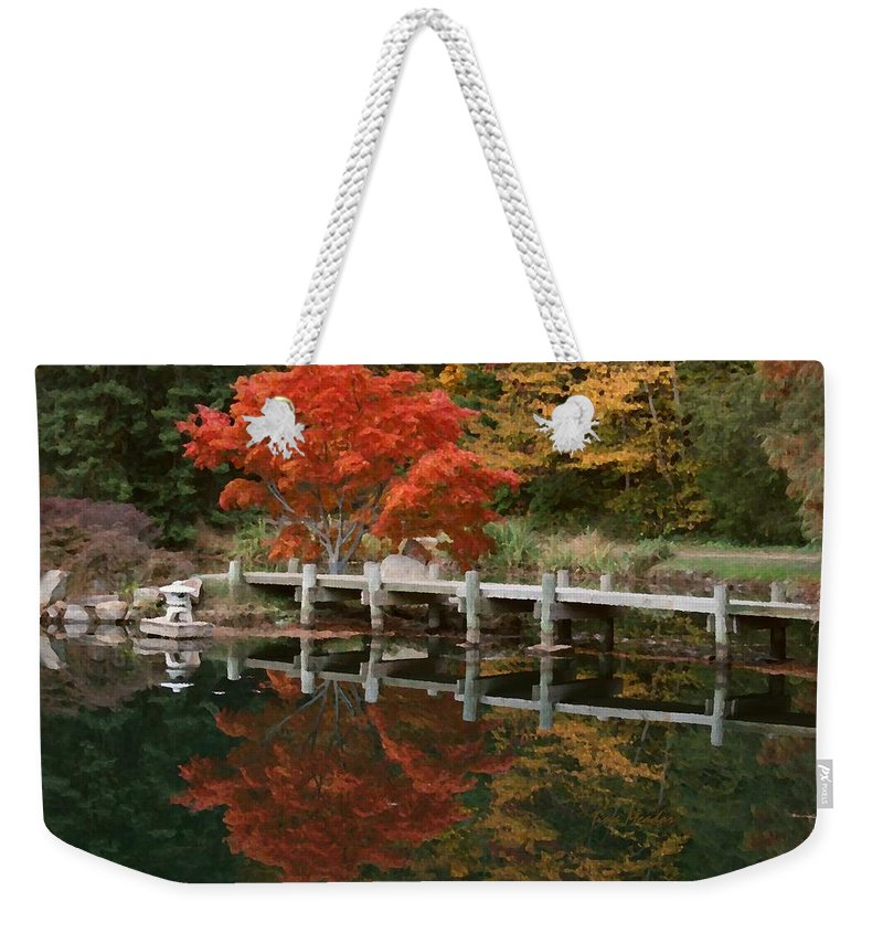 Maymont Weekender Tote Bag featuring the photograph Japanese Reflection by Tina Meador