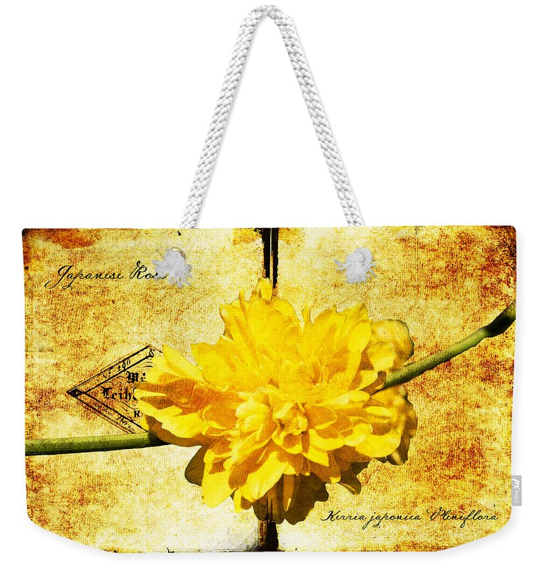 Kerria Weekender Tote Bag featuring the digital art Japanese Rose by Teresa Mucha