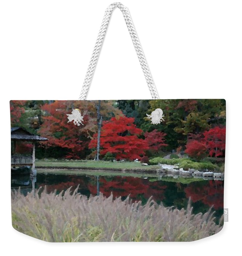 Japanese Weekender Tote Bag featuring the mixed media Japanese Serenity by Tina Meador