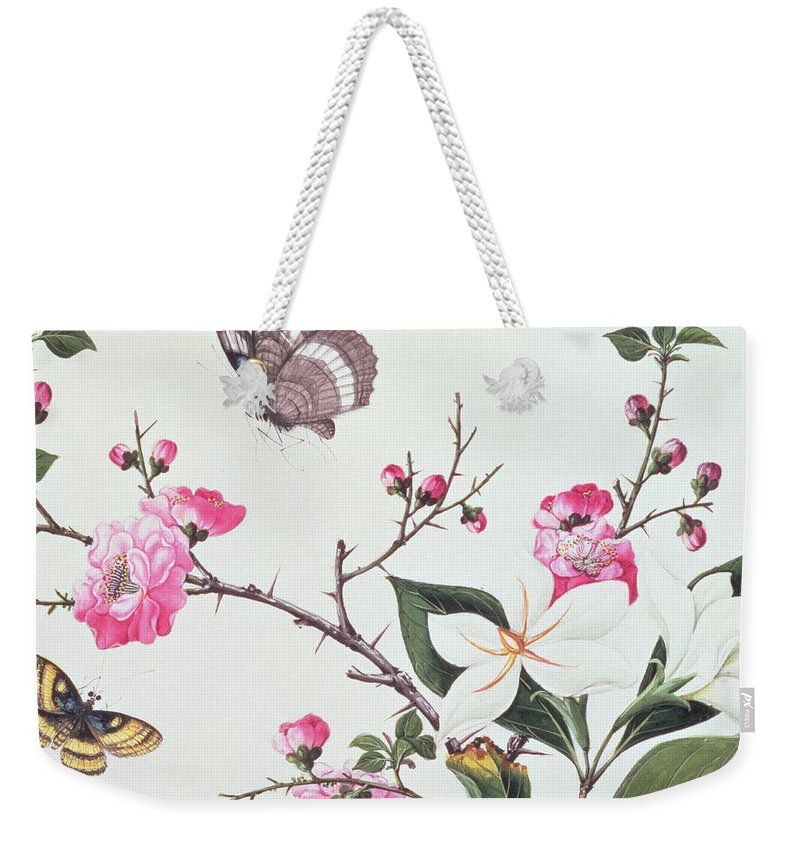 Butterfly Weekender Tote Bag featuring the painting Japonica Magnolia And Butterflies by Chinese School