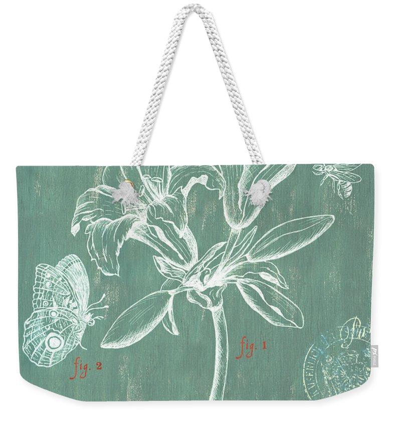 Floral Weekender Tote Bag featuring the drawing Jardin Botanique Aqua by Debbie DeWitt