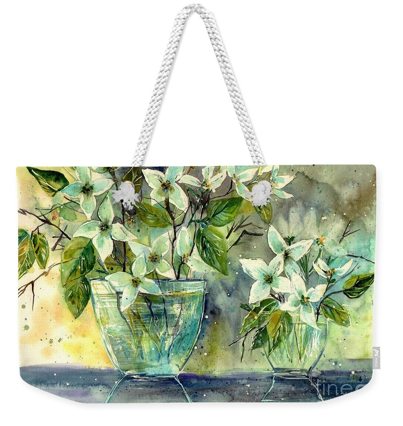 Cosmic Weekender Tote Bag featuring the painting Jasmine In Glass by Suzann Sines