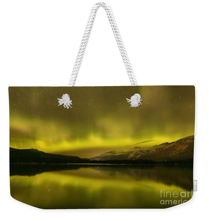Northern Lights Weekender Tote Bag featuring the photograph Jasper Dancing Skies by Adam Jewell
