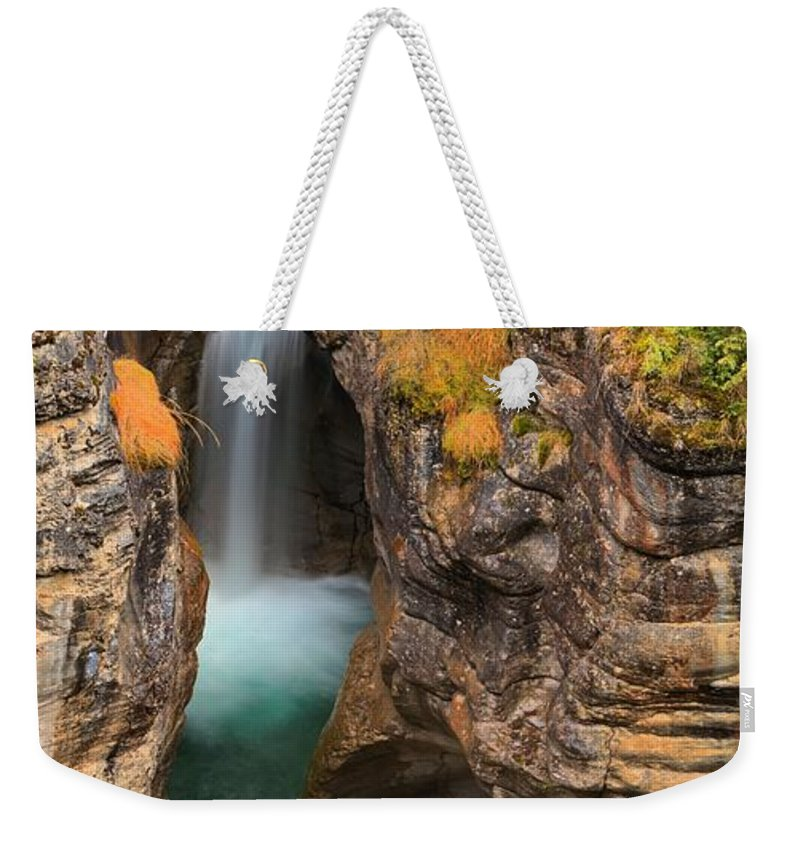 Maligne Canyon Weekender Tote Bag featuring the photograph Jasper Maligne Canyon Waterfall by Adam Jewell