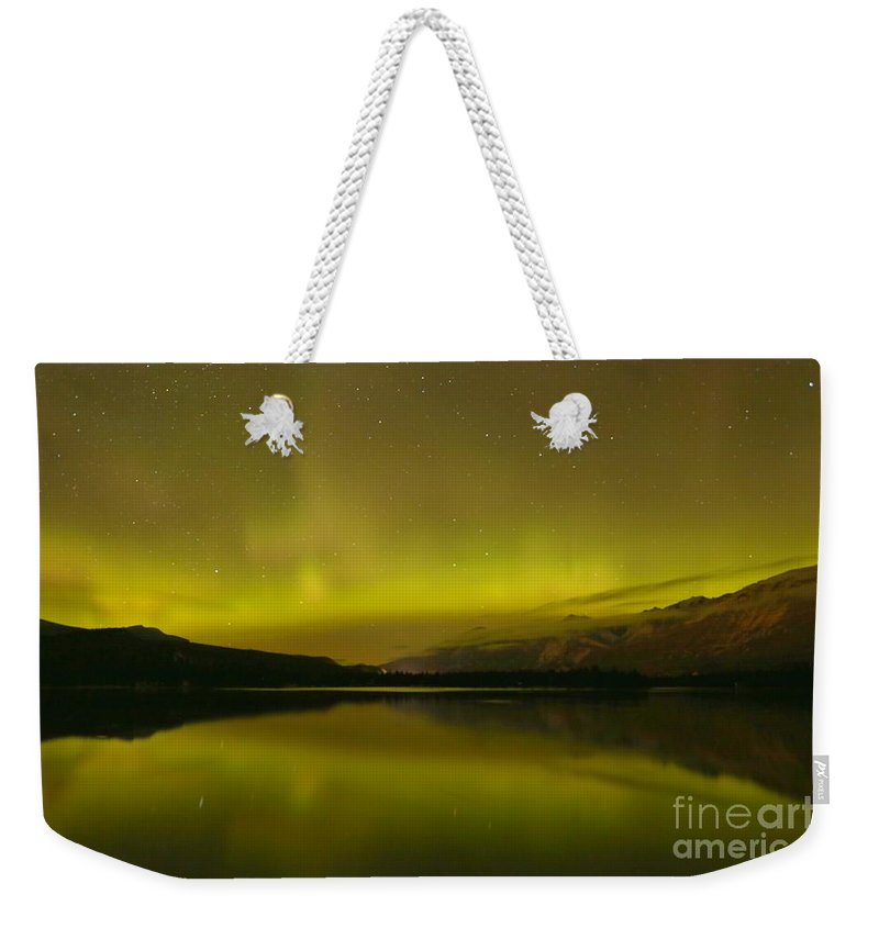 Northern Lights Weekender Tote Bag featuring the photograph Jasper National Park Aurora Borealis by Adam Jewell