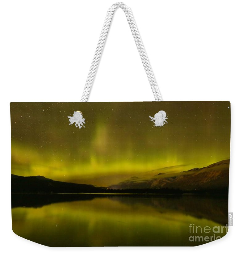 Northern Lights Weekender Tote Bag featuring the photograph Jasper National Park Dark Sky Show by Adam Jewell