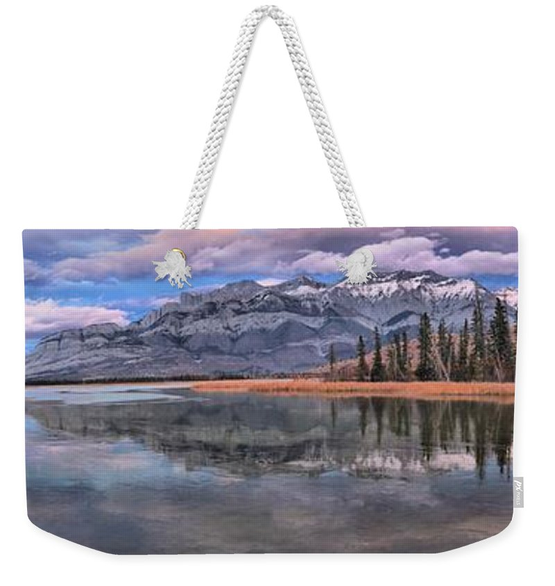 Talbot Lake Weekender Tote Bag featuring the photograph Jasper Talbot Lake Reflections by Adam Jewell