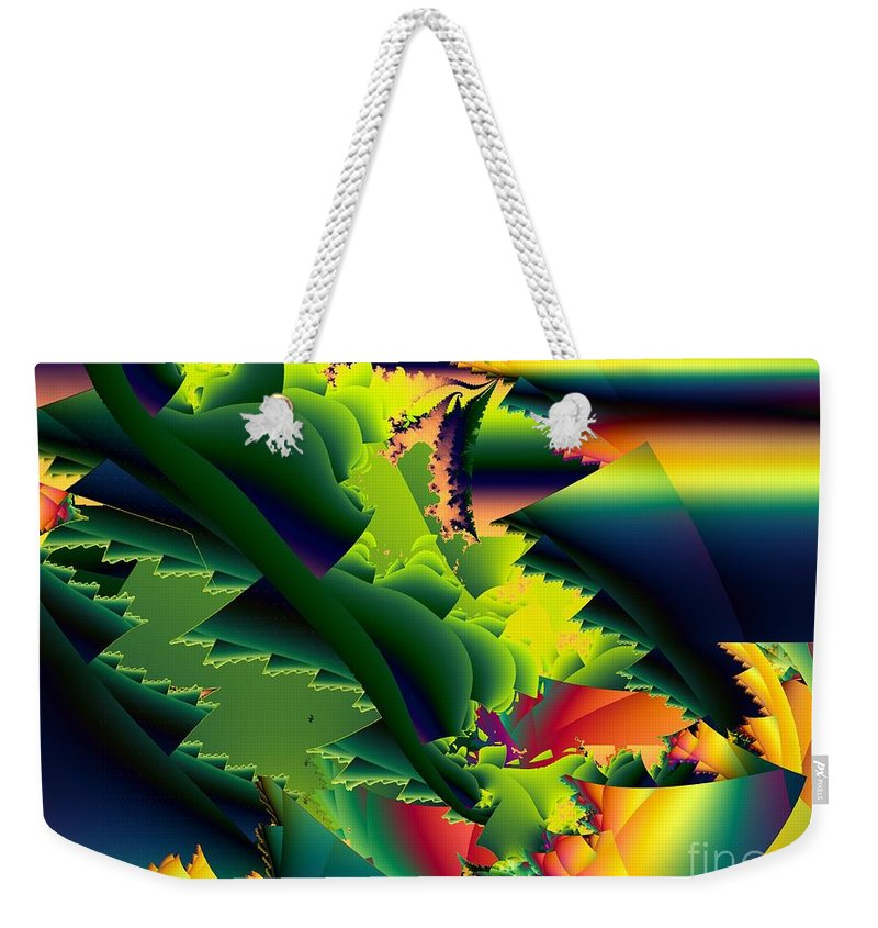 Praying Mantis Weekender Tote Bag featuring the digital art Jaws Of The Mantis by Ron Bissett