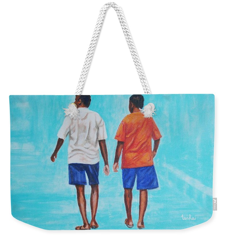 Weekender Tote Bag featuring the painting Jay Walkers by Usha Shantharam