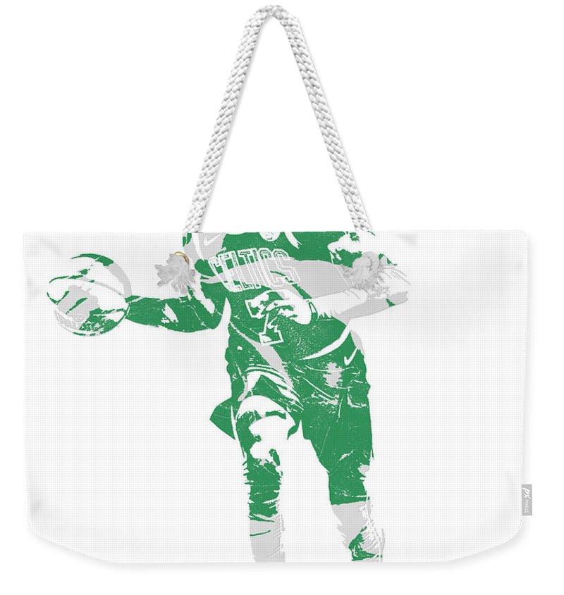 Jaylen Brown Weekender Tote Bag featuring the mixed media Jaylen Brown Boston Celtics Pixel Art 30 by Joe Hamilton