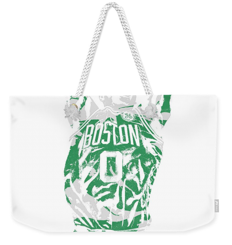 Jayson Tatum Weekender Tote Bag featuring the mixed media Jayson Tatum Boston Celtics Pixel Art 12 by Joe Hamilton
