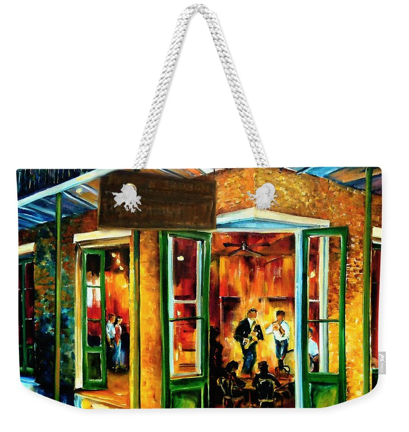 New Orleans Weekender Tote Bag featuring the painting Jazz at the Maison Bourbon by Diane Millsap