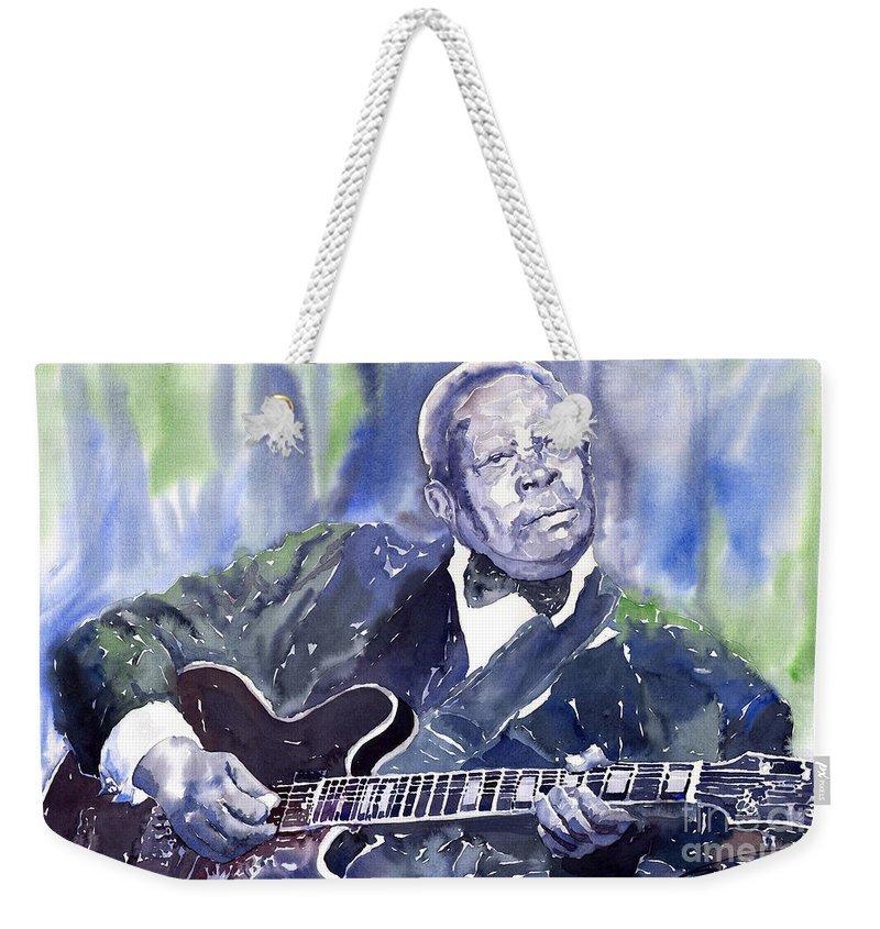 Jazz Bbking Music Watercolor Watercolour Guitarist Portret Weekender Tote Bag featuring the painting Jazz B B King 01 by Yuriy Shevchuk