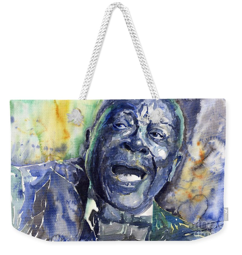 Jazz Weekender Tote Bag featuring the painting Jazz B.b.king 04 Blue by Yuriy Shevchuk