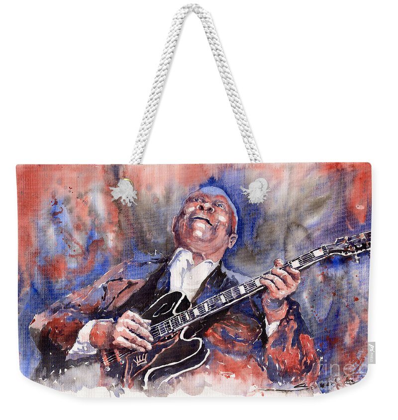 Jazz Weekender Tote Bag featuring the painting Jazz B B King 05 Red A by Yuriy Shevchuk