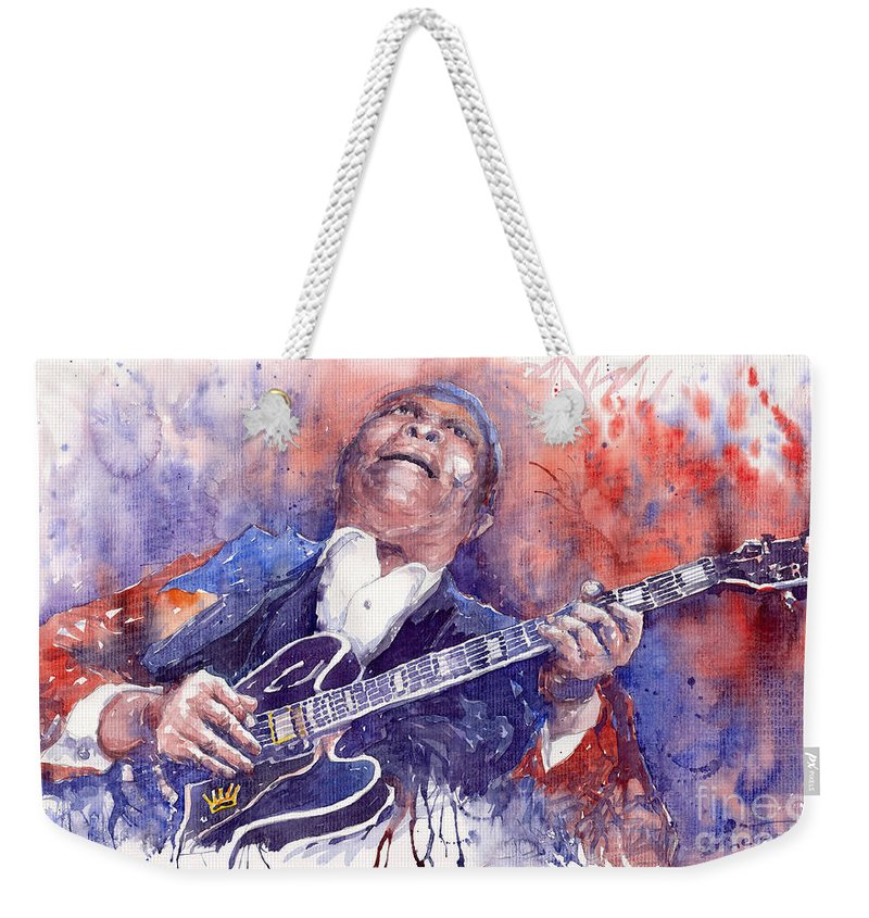 Jazz Weekender Tote Bag featuring the painting Jazz B B King 05 Red by Yuriy Shevchuk