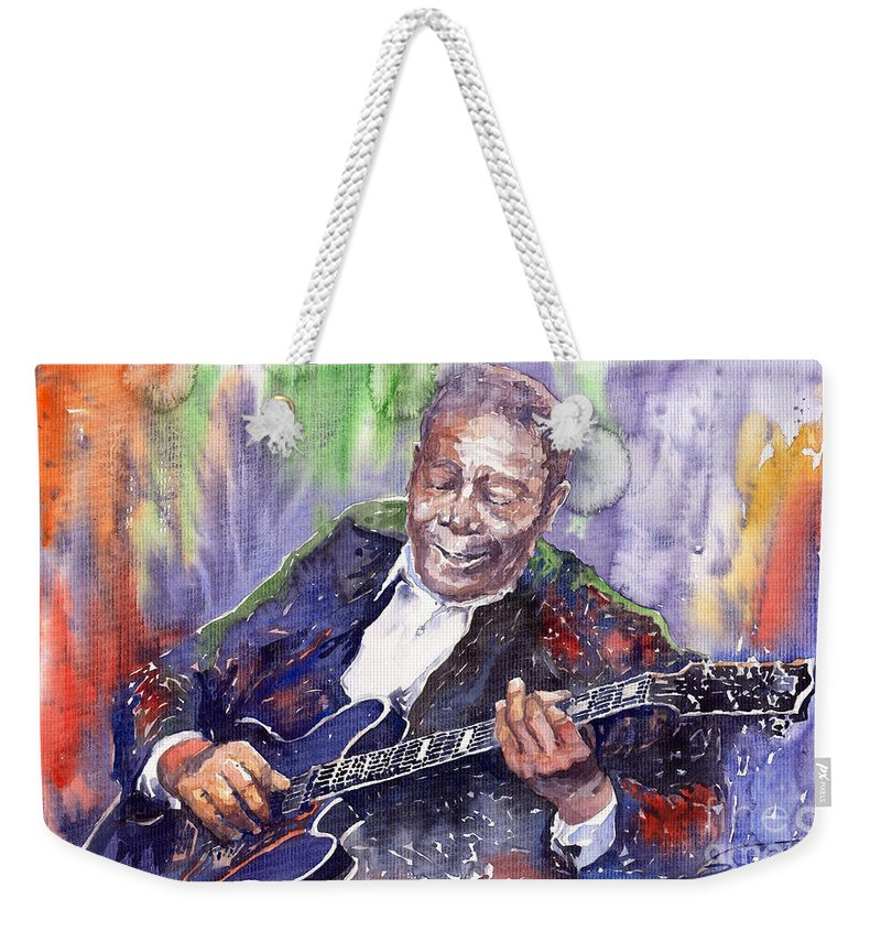 Jazz Weekender Tote Bag featuring the painting Jazz B B King 06 by Yuriy Shevchuk