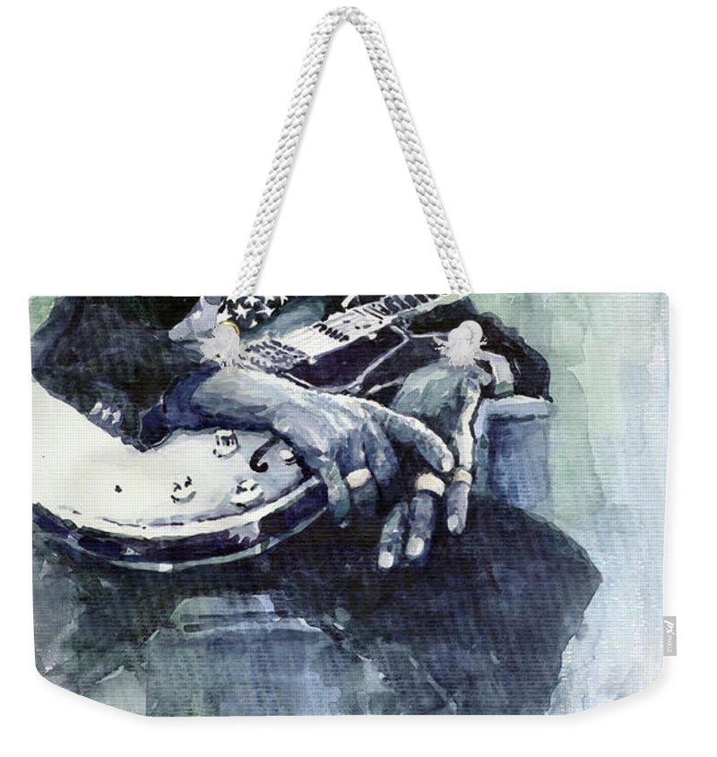 Jazz Weekender Tote Bag featuring the painting Jazz Bluesman John Lee Hooker 04 by Yuriy Shevchuk