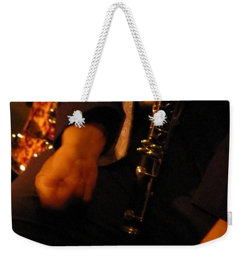 Jazz Weekender Tote Bag featuring the photograph Jazz Clarinet by Anita Burgermeister