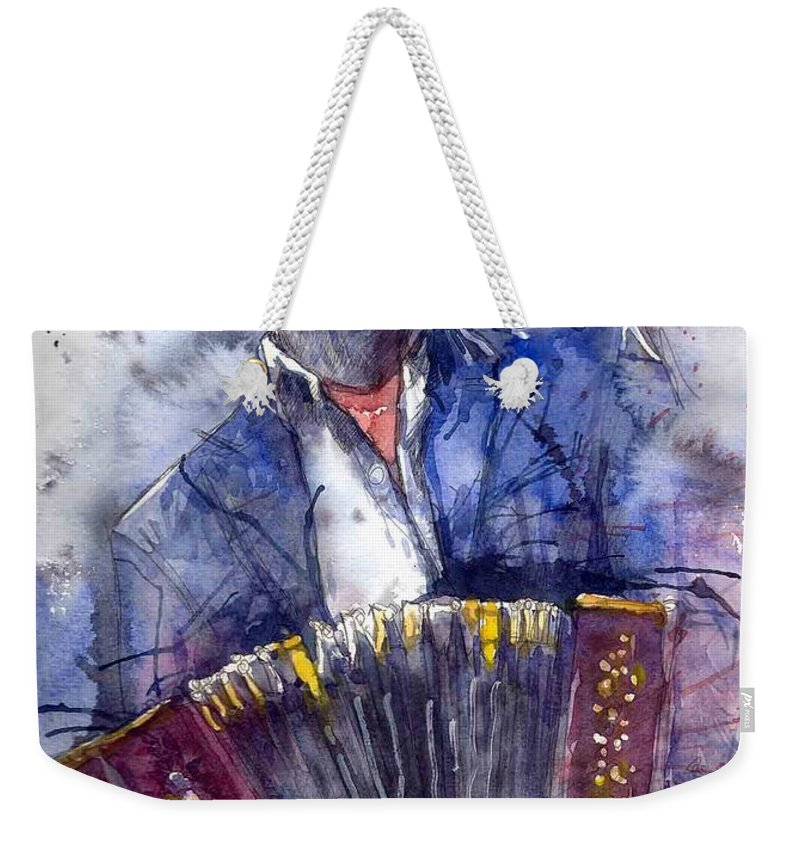 Jazz Weekender Tote Bag featuring the painting Jazz Concertina player by Yuriy Shevchuk